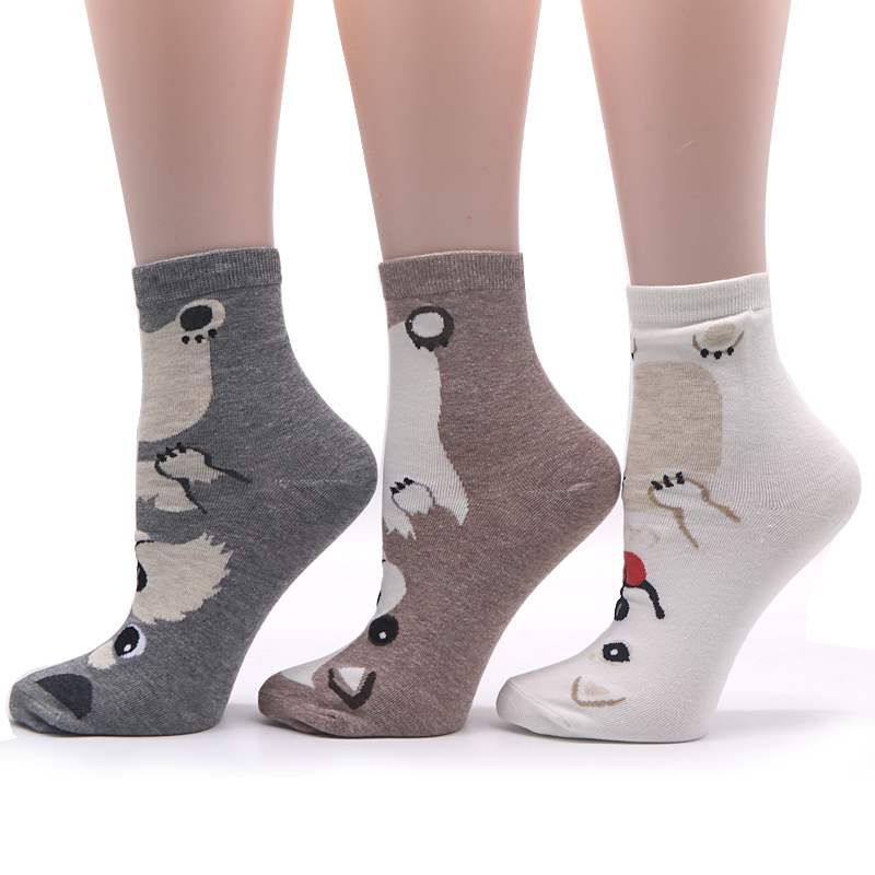 3pairs New Design Cartoon Cotton Blends Women Socks Cute Character Animals Ladies and Female Socks Fashion Casual Short Socks