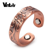 Vinterly Flower Pure Copper Rings Magnetic Vintage Adjustable Open Cuff Ring Simple Wedding Engagement Rings for Women Arthritis