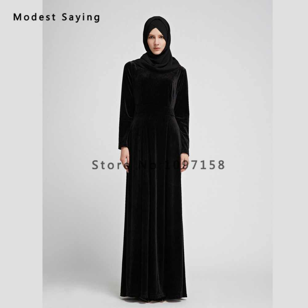 ... Royal Blue Muslim Velvet Evening Dresses 2018 with Pockets Long Sleeve  Evening Gowns Ankle-Length ... 6539971e752f