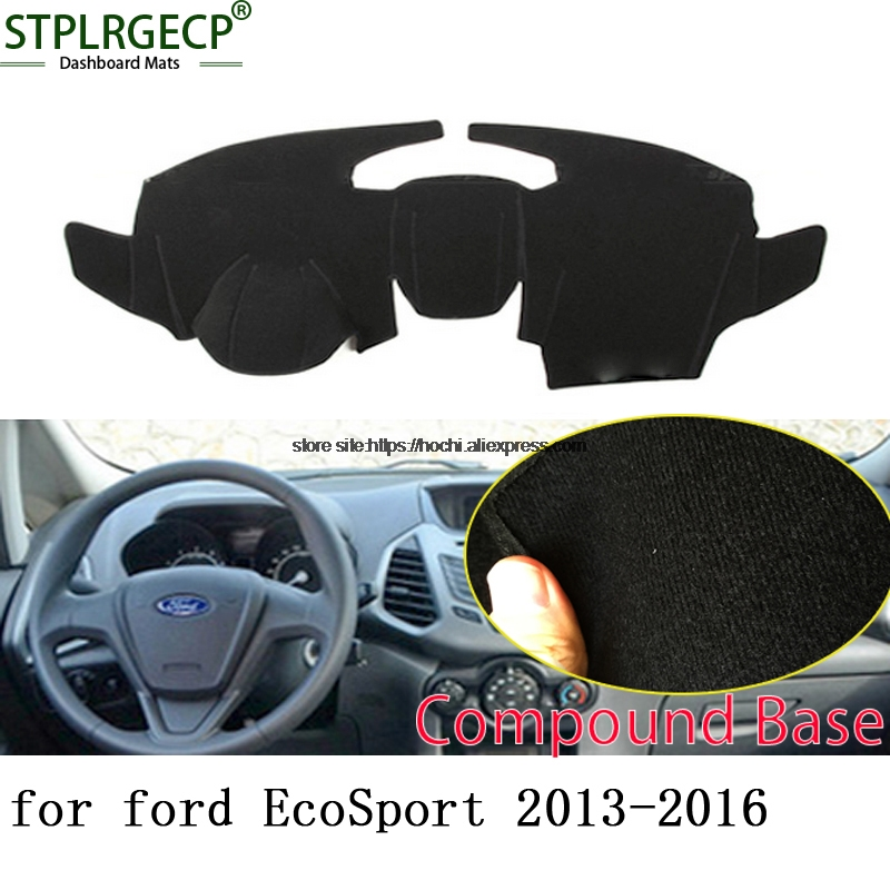 STPLRGECP double layer Black Dash Mat For ford EcoSport 2013-2016 Dashmat Black Carpet Car Dashboard Automotive interior Mats for toyota prius 2012 2013 right hand drive dashboard mat protective pad black car styling interior refit sticker mat products