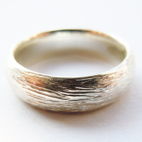4MM Solid 925 Sterling Silver Tree-Skin Ring