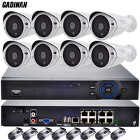 GADINAN 8CH POE NVR Kit 1080P Full HD 2MP IP Camera CCTV P2P 36pcs IR LEDs