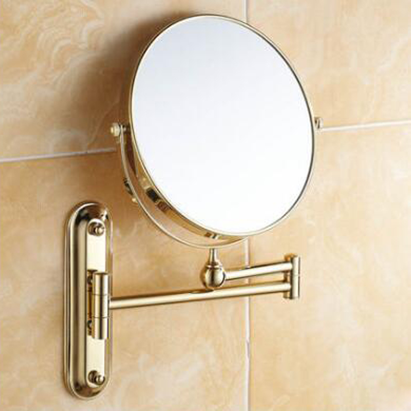 Online Shop POIQIHY 8 Black Antique Bronze Chrome Golden Makeup Mirror Wall Mounted Bathroom Double Side Magnifying