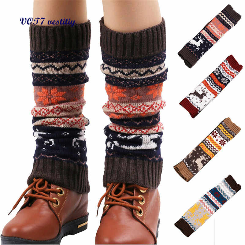 VOT7 vestitiy 2018 mode Frauen Beinlinge Schnee Deer Patchwork Knie Bein Socken September 27