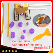 Car PDR TOOL Dent Removal Glue Tabs with Rubber hammer Repair Glue Tabs Paintless Dent Remover Tools 8X pulling tab+2x Sticks A