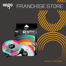Aigo 120mm/140mm Aurora Ring Rainbow Fan computer pc case cooling Silent led Halo fan Gaming Ventilador PC cpu Cooler(China)