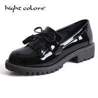Bowknot Tassel Design Loafers Women Retro Round Toe Patent Leather Slip on Women Oxford Shoes Causal Ladies Flats Working Shoes