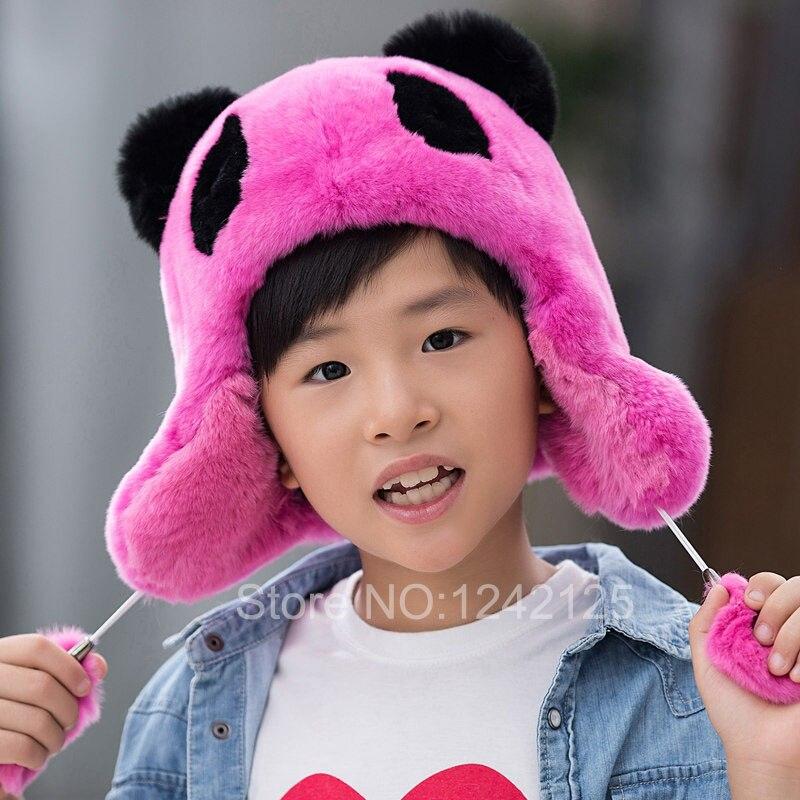 Nouveau chapeau de fourrure de russie oreilles de lapin réel chapeau garçon fille enfants chapeau de fourrure de lapin belle panda casque antibruit chaud dessin animé pompon bébé chapeau de fourrure