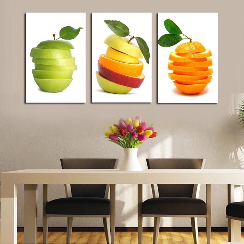 unids pintura al leo moderna de la lona de arte de la fruta de cocina