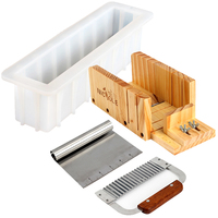 Nicole Silicone Soap Mold Set 4 Wooden Cutter Box With 2 Pieces Stainless Steel Blade For