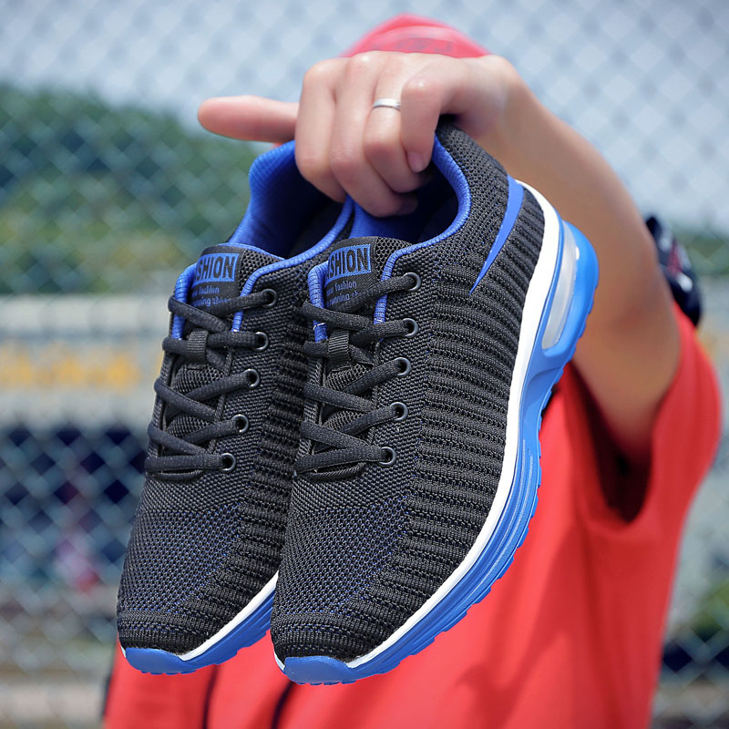 ZENVBNV Men sneakers high quality mesh summer breathable men casual shoes black red Rubber Trainers Flying Fabric Casual Shoes