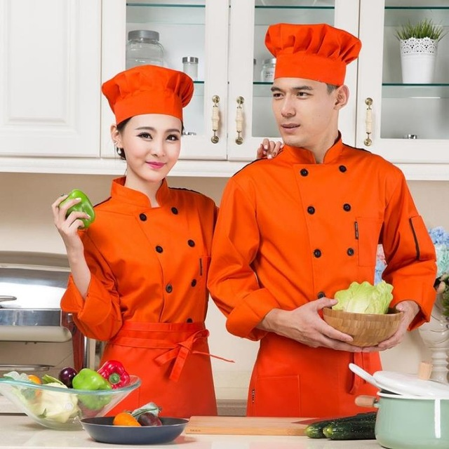 New Arrive 6 Colors Unisex Long-sleeved Chef Coat Women Waiter Uniform Cook Coat Green Chef Jacket Restaurant Work Clothes