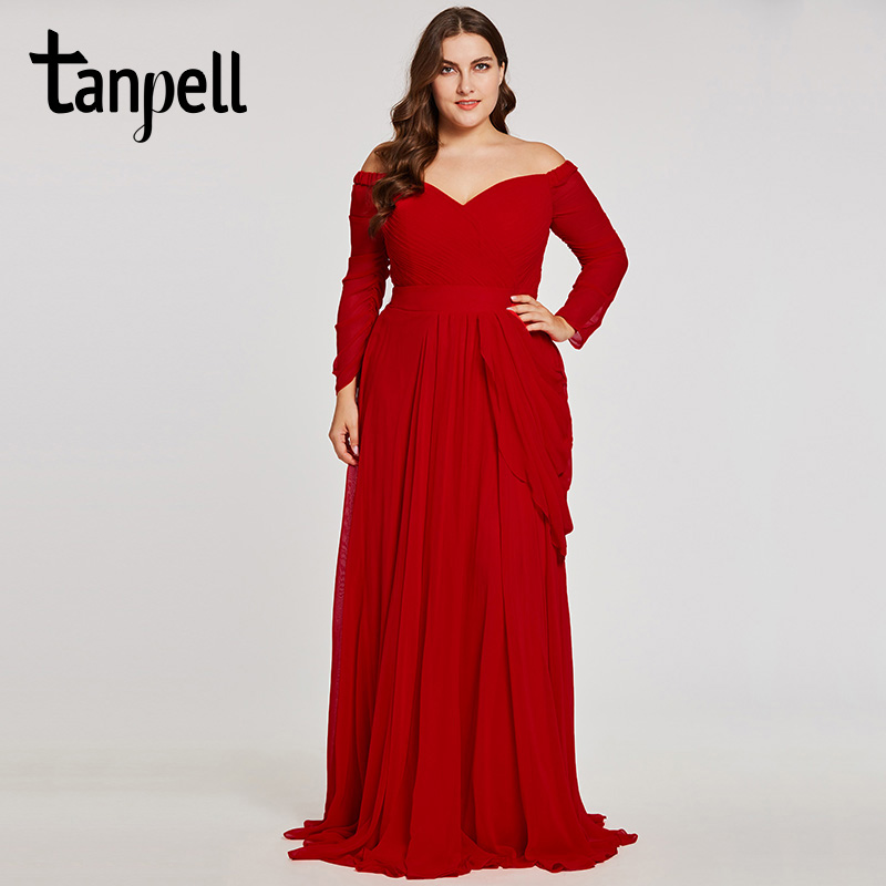 Tanpell off the shoulder evening dress red 3/4 length sleeves a line gown women pleated floor length formal plus evening dresses-in Evening Dresses from Weddings & Events    1