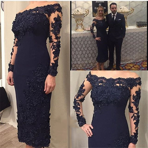 2019 Mother of the Bride Dresses Navy Blue Sheath Satin Ankle length Off the Shoulder Long Sleeves Women Evening Party Celebrity 1