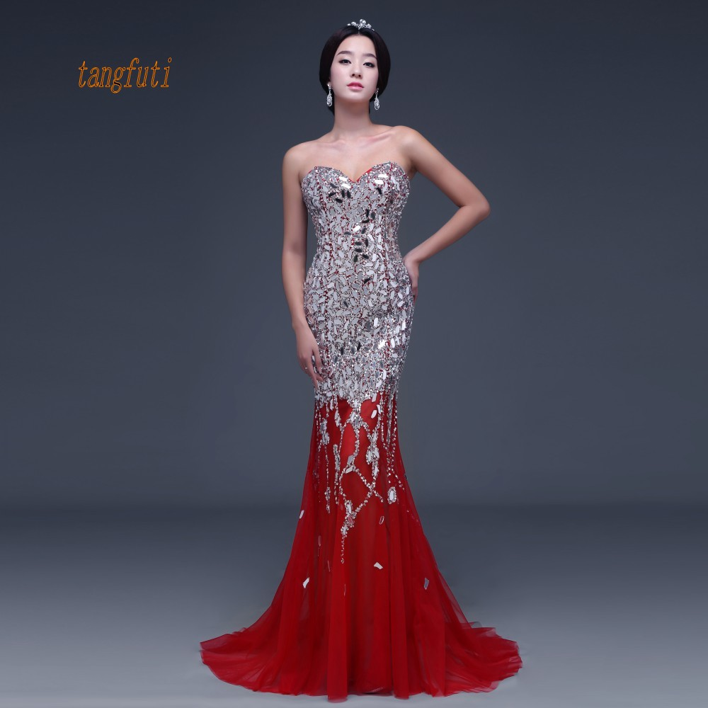 Beading Mermaid   Evening     Dress   Luxury Beading Illusion Tulle Sexy Backless Long Party Gowns Real Photo