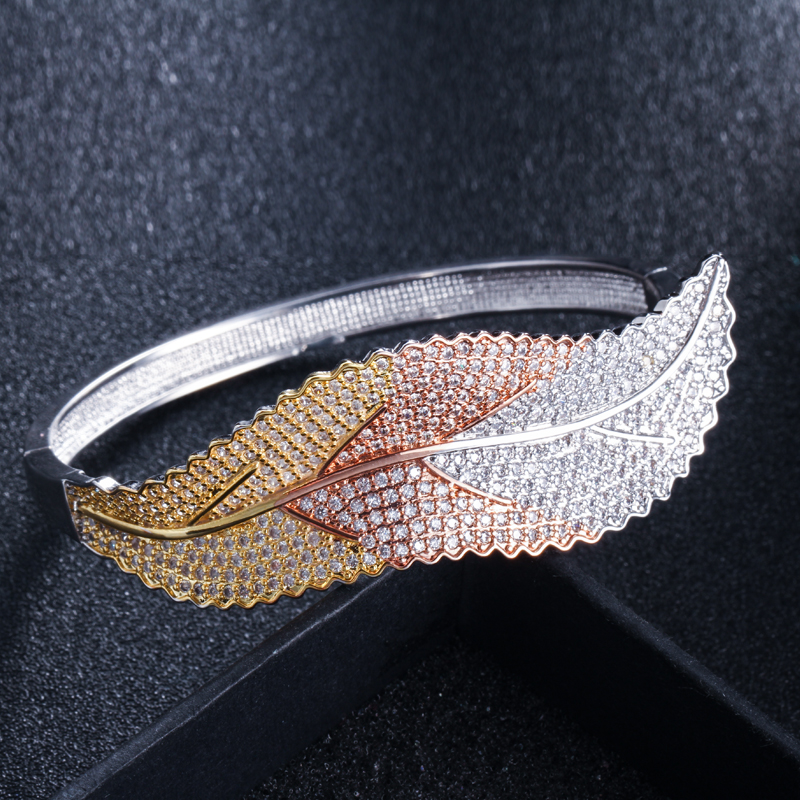 CWWZircons 3 Tones Silver and Rose Gold Color Leaf Shape Big Micro Pave Cubic Zirconia Luxury Open Cuff Bangle for Women BG016 HTB1AzI8XoLrK1Rjy0Fjq6zYXFXaY
