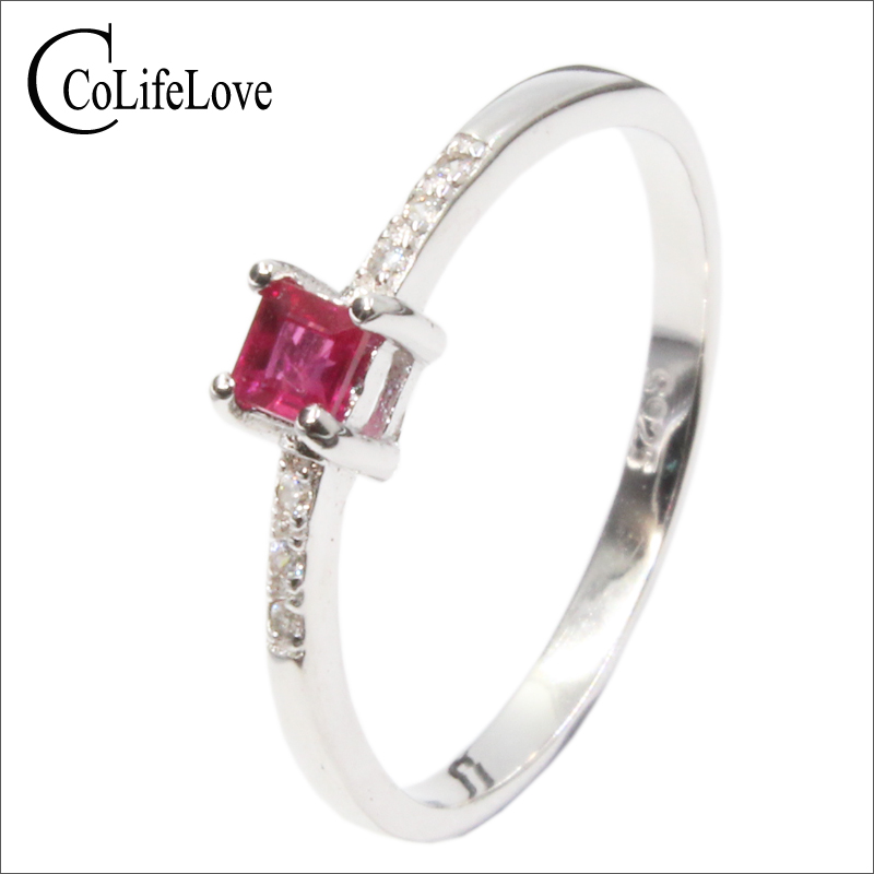 купить Simple design silver ruby ring 2.8*2.8mm natural blood red ruby ring 100% real 925 silver ruby jewelry romantic gift for woman по цене 1646.9 рублей
