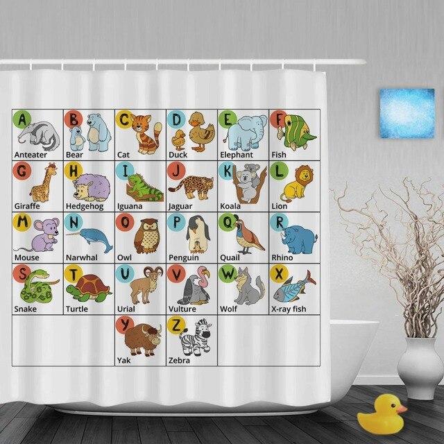 Cartoon Alphabet Letters Design Kids Shower Cutains Animals Decor ...