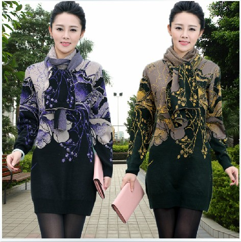 Middle Age Women Sweater fall/Winter Jacquard Female Jumper Bottom Pullover Cashmere Knit Dress Scarf D180