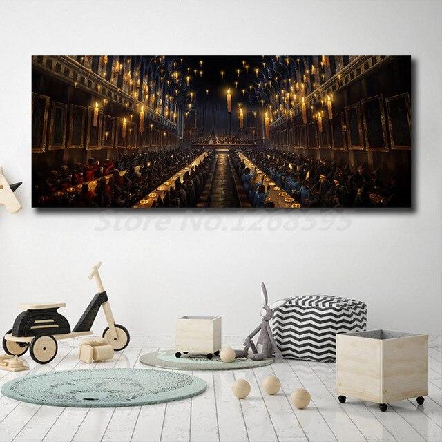 Гарри Поттер Хогвартс, столовая, настенные художественные Постеры-холсты, картины на стену для современной гостиной, домашний декор жикле