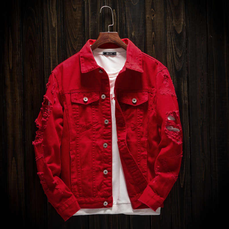 Autumn Hole Denim Jacket Men Ripped Cowboy Jackets Coat Male Slim Fit Solid Casual Coats Cotton Red Plus Size 3XL Clothes