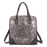 Famous Brand Ladies Handbags Genuine Leather Women Bag Casual Tote Floral Print Shoulder Bags 2017 New Luxury Large Tote Bag