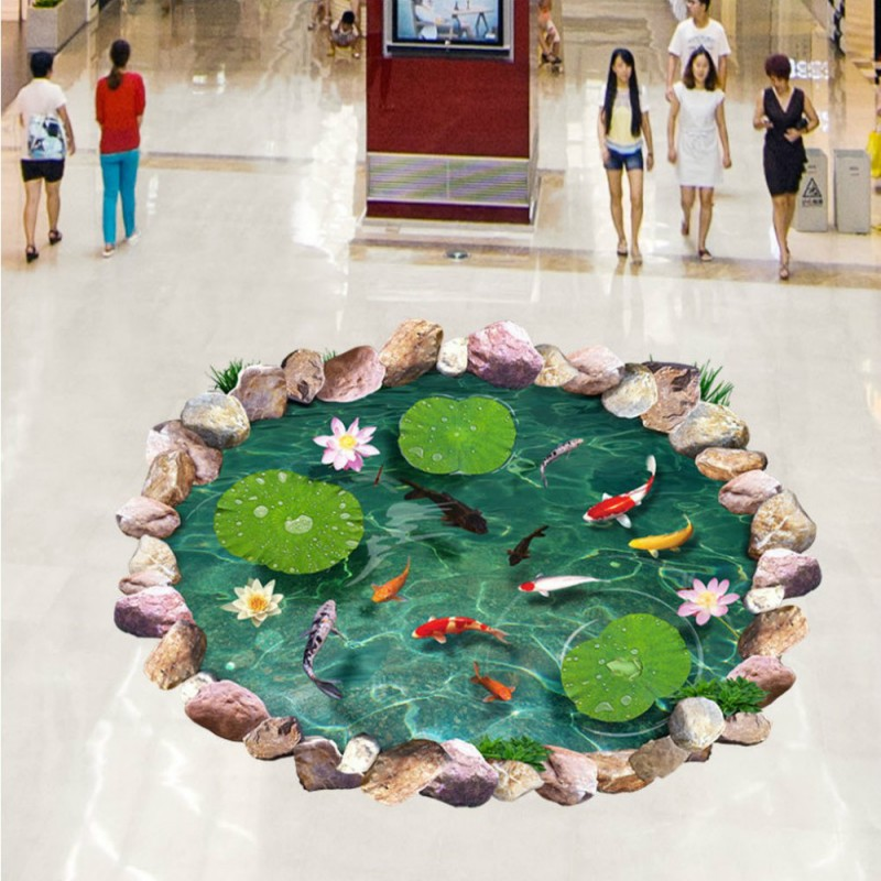 Free Shipping 3D Stereo Lotus lotus leaf goldfish stone floor painting living room lobby floor wallpaperFree Shipping 3D Stereo Lotus lotus leaf goldfish stone floor painting living room lobby floor wallpaper