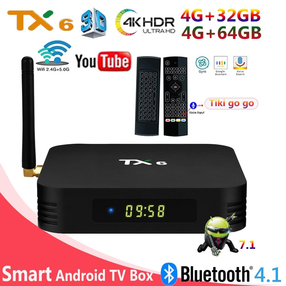 TX6 Android 7 Smart tv box 4G DDR3 32G 64GB Allwinner H6 2 4GHz WiFi m3u