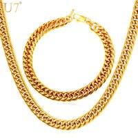 U7 جديد hiphop 9 ملليمتر عرض المجوهرات الأفريقية مجموعة قلادة مجموعة الجملة الكوبية سلسلة الرجال قلادة مجموعات المجوهرات سوار الاثيوبية S843