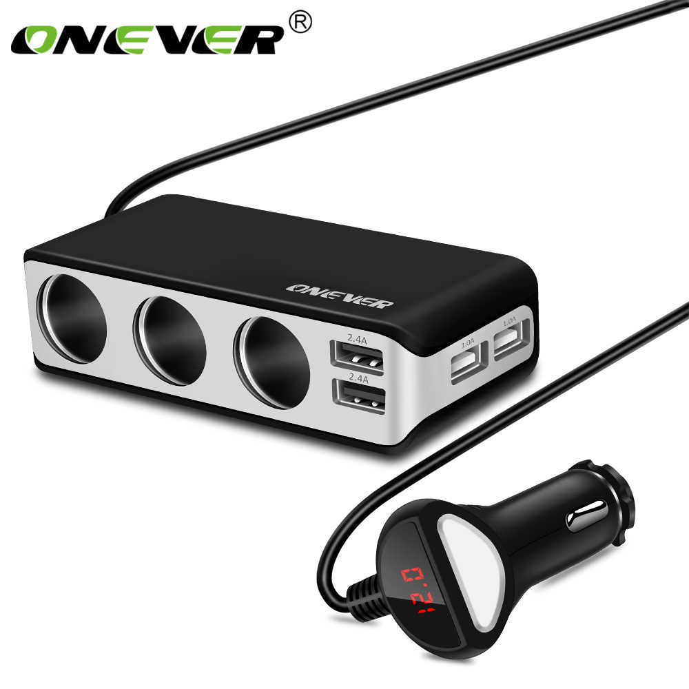 Onever 4 USB Port 3 Way Car Cigarette Lighter Socket Splitter 120W Output Power Adapter 12~24V Charger Fast Charging Voltmeter