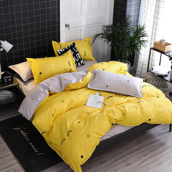 New Products Time Art Yellow Bedding Sets Duvet Cover Set Soild Bed Sheet Twin Queen King Size