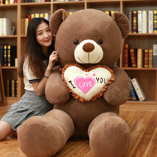 1pc I Love You Teddy Bear Large Stuffed Plush Toy Holding LOVE Heart Soft Gift for Valentine Day Birthday Girls Xmas Brinquedos