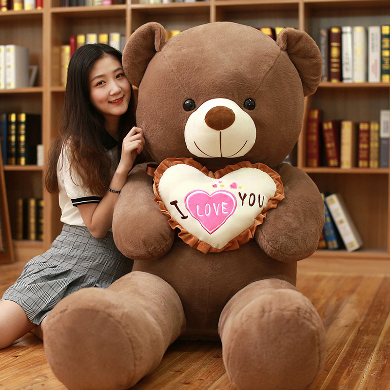 1pc I Love You Teddy Bear Large Stuffed Plush Toy Holding LOVE Heart Soft Gift for Valentine Day Birthday Girls' Xmas Brinquedos