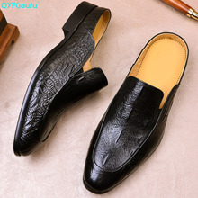 QYFCIOUFU 2019 Summer New Loafer crocodile shoes Slip-On Mens dress Genuine Leather Casual Footwear Wedding formal