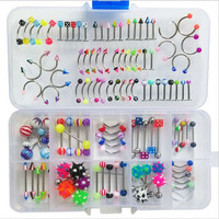 110pcs Set Belly Button Ring Sexy Piercing Barbell Nose Studs Labret Tongue Rings Surgical Steel Navel