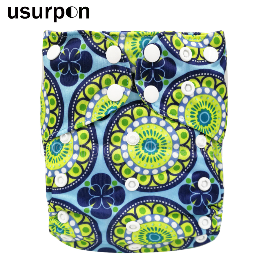 [usurpon] 1 Pc Cloth Diaper Baby Girls Boys AIO Cloth Diaper With Two Bamboo Insert Wateproof Baby Bamboo Diaper All In One