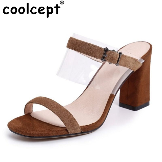 ec4995112f5 Coolcept Women Real Leather Fashion High Heels Sandals Open Toe Slippers  Summer Daily Work Jelly Shoes Women Shoes Size 34-39