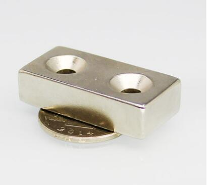 40pc 40x20x10 Block Countersunk Magnets 40X20X10 mm Hole 5mm Rare Earth Neodymium N50 Two holes Magnet