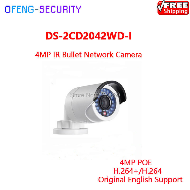 HIKVISION Camera IPC POE DS-2CD2042WD-I 4MP IR Bullet Network Camera IR 30m Original English Version Support Upgrade hikvision 4mp ip camera ds 2cd1641fwd i 4mp vari focal network camera hd 1080p real time video ir bullet poe cctv camera