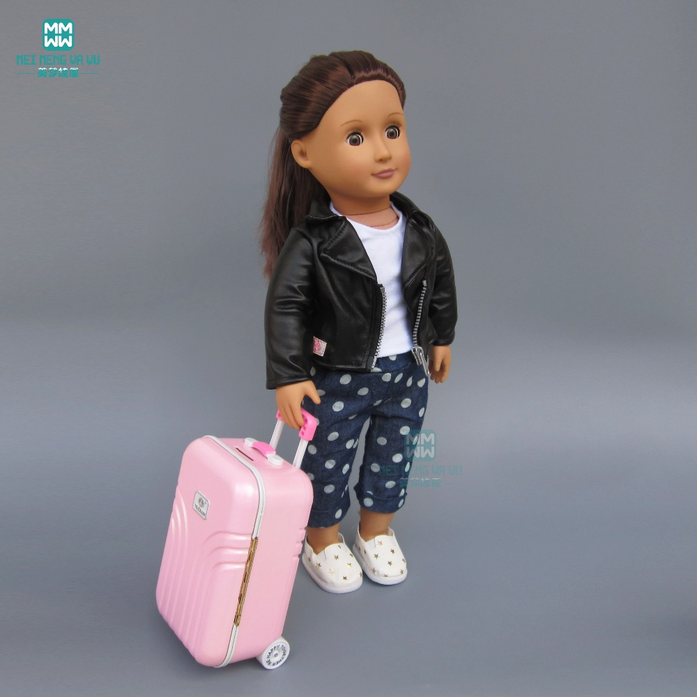 Pink suitcase fits 43-45cm American girl Baby Born zapf doll doll accessories doll accessories pink rabbit pattern sleeping bag pillow doll clothes wear fits 18 american girl doll for baby gift lg74