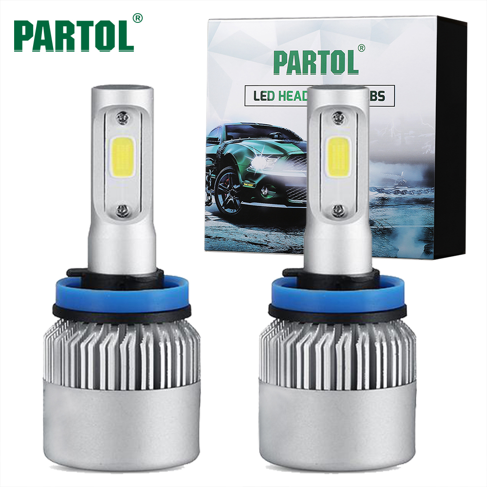 Partol Headlight H4 hi/lo Beam H7 H11 H1 H3 9004 9005/HB3 9006 9007 Single Beam LED Bulbs Car Headlamp Kit 72W 8000LM Auto Light possbay h11 h9 h8 h1 9004 9007 9005 h7 h3 h13 60w 8000lm cob xm l2 led headlight kit beam bulbs 3500k high power waterproof