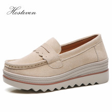 Hosteven Women Shoes Flat Platform Moccasins Sneaker Loafers Cow Suede Leather Spring Autumn Female Students Ladies
