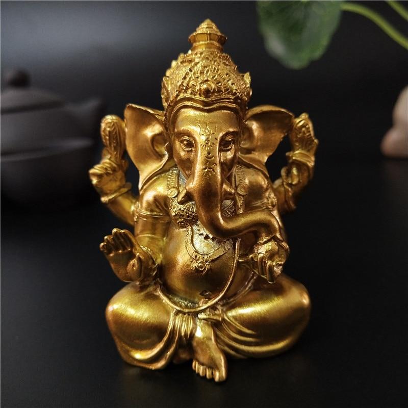 Ganesha Buddha Statue House Garden Decoration Indian Gold Elephant God Ganesh Sculpture Figurines Home Decor Buddha Statues