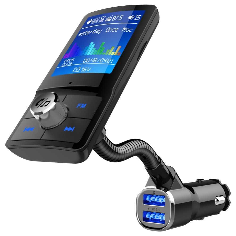 Kolorowy ekran nadajnik FM samochodowy MP3 bezprzewodowy samochodowy zestaw głośnomówiący Bluetooth Modulator Audio AUX z podwójną ładowarką samochodową USB QC3.0