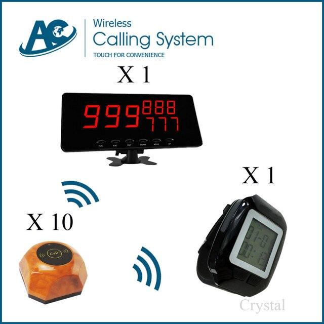10 timbre de llamada 1 reloj 1 pantalla del monitor Impermeable wireless sistema de llamada del camarero botón de la llamada mesa de café restaurante pizzería