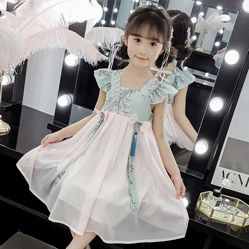 New Kids Dressses For Girls Vintage Dress Hanfu Skirt Children Summer Costumes Elegant Swing Dance Dress Stage Costume BL1803