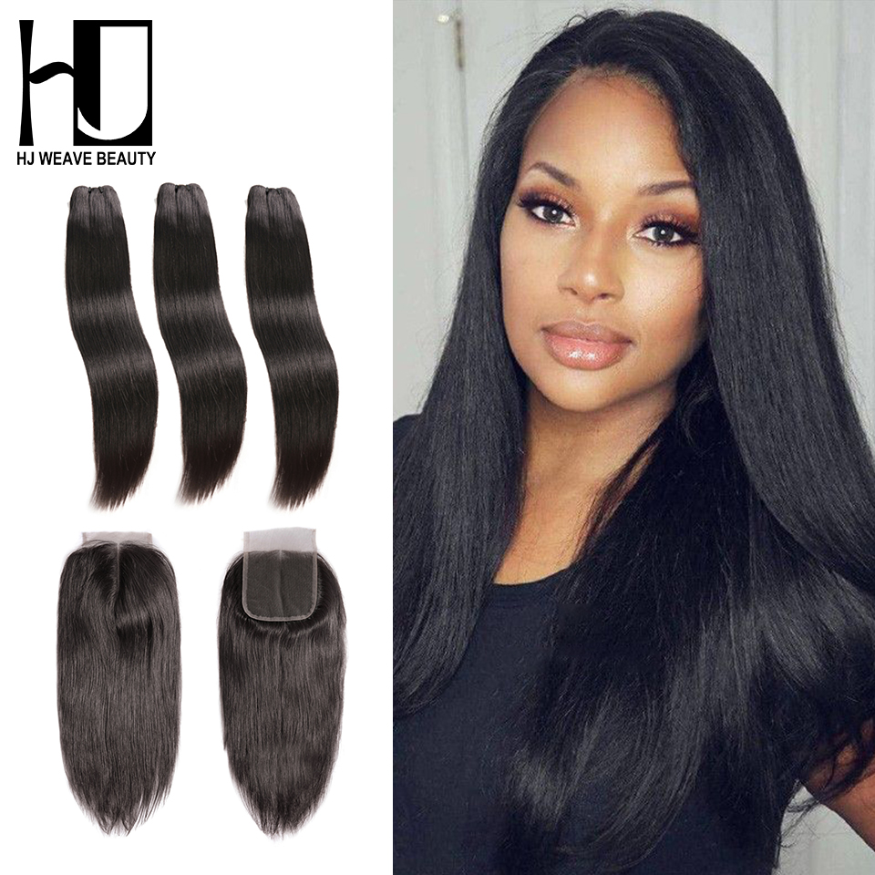 HJ WEAVE BEAUTY Raw Indian Virgin Hair Straight Bundles With Closure Hair Weave Bundles With 4X4 Lace Closure Free Shipping-in 3/4 Bundles with Closure from Hair Extensions & Wigs    1