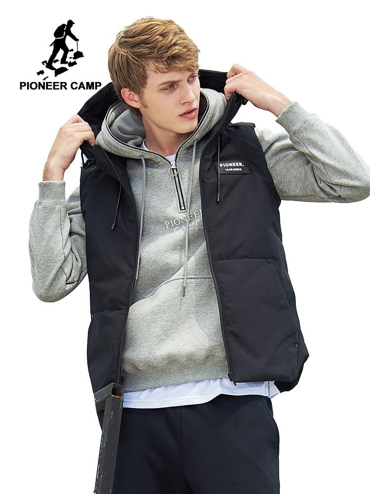 Пионерский лагерь осень-зима жилет для мужчин бренд одежда без рукавов куртка мужской качество хлопок-ватник с капюшоном жилет AMF705168