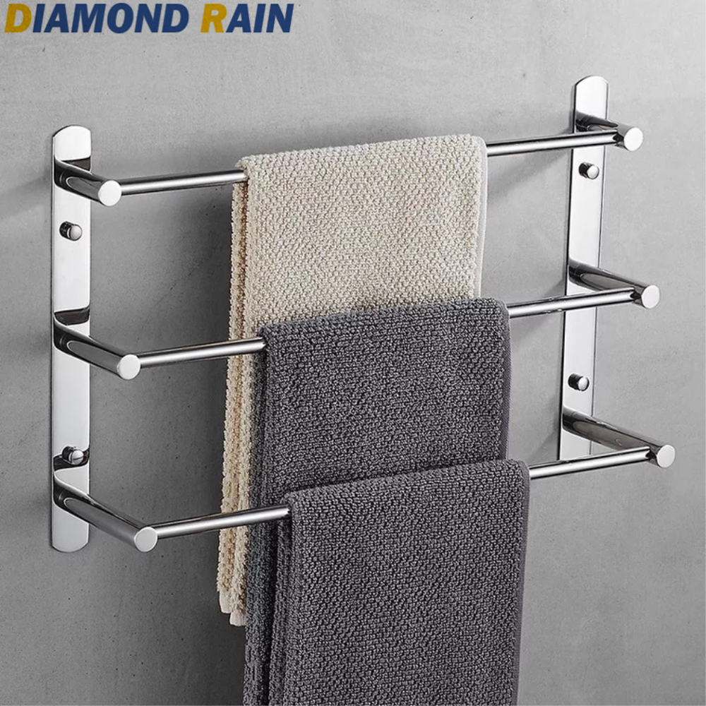 Polished Chrome 304 Stainless Steel Bathroom Hardware Sets Modern Square Silver Bathroom Accessories Wall Mounted Dr-07 Aesthetic Appearance Bath Hardware Sets
