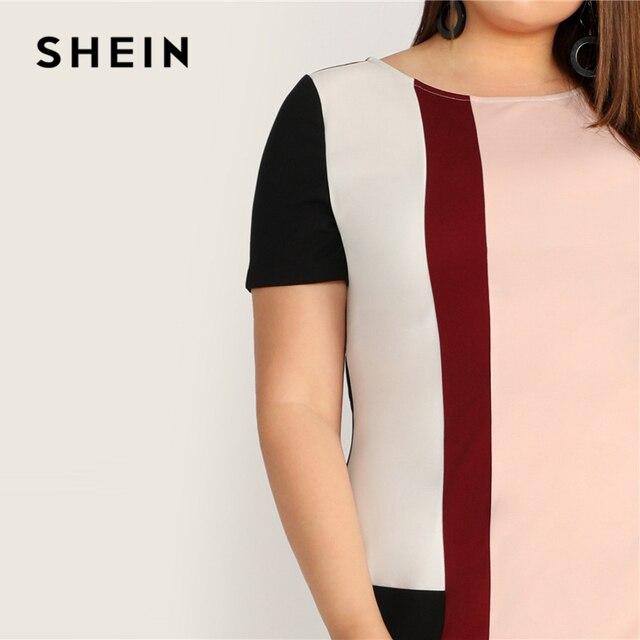 SHEIN Plus Size Multicolor Colorblock Tunic Dress 2019 Women Summer Casual Straight Shift Short Sleeve Big Size  Mini Dresses 4